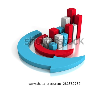 Successful Business Graph With Arrows Around. Concept 3d Render Illustration