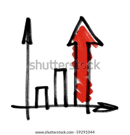 Successful business graph with red shaded arrow. Hand drawing, isolated. - stock photo