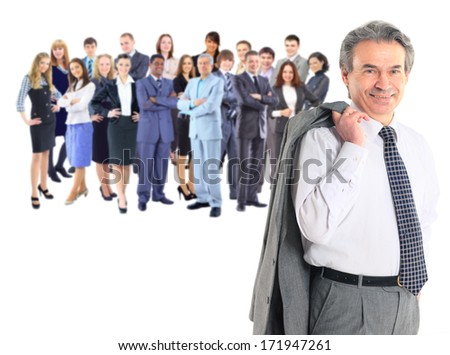 Successful business man and his team isolated over a white background - stock photo