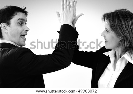 successful business man and woman - stock photo