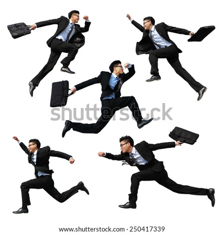 Successful business man jump and run isolated with white background, full length, asian male - stock photo