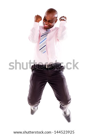 Successful business man jumping - isolated over a white background - stock photo