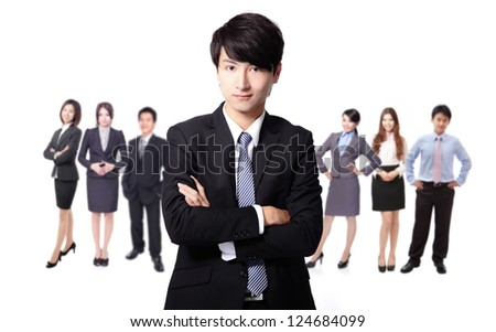 Successful business man leading a business team isolated on white background, asian model
