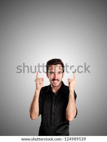 successful business man on gray background