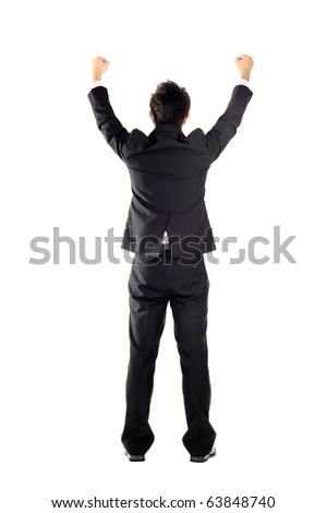 Successful business man raising hand, isolated on white. - stock photo
