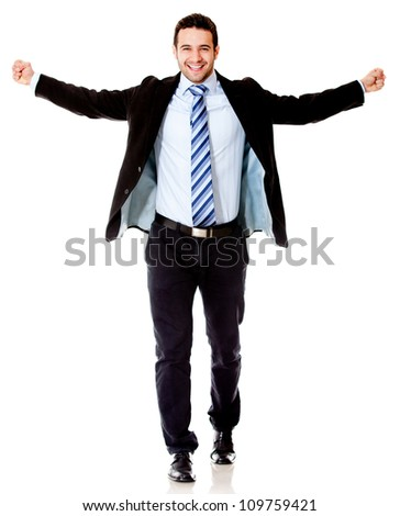 Successful business man with arms open - isolated over a white background - stock photo