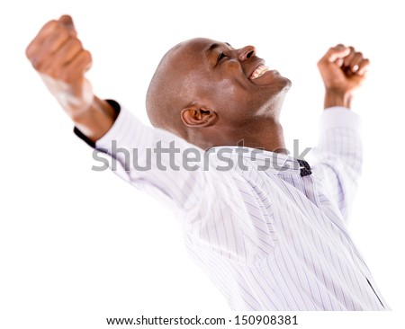 Successful business man with arms open - isolated over white background  - stock photo