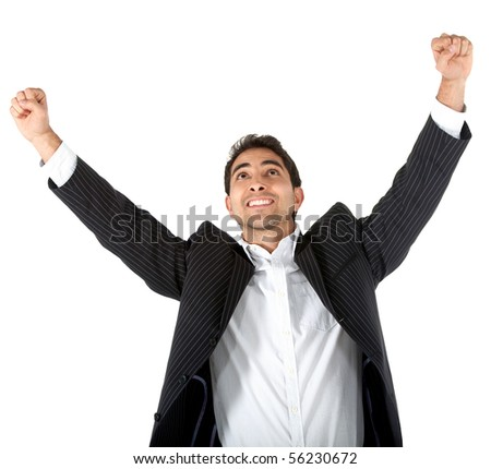 Successful business man with arms up - isolated over a white background - stock photo