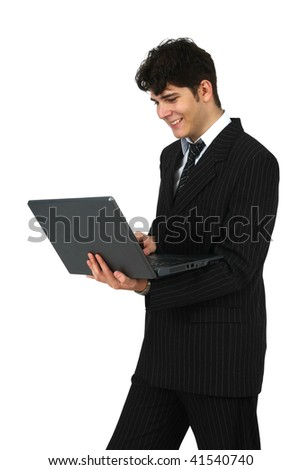 Successful business man working with laptop isolated on white background
