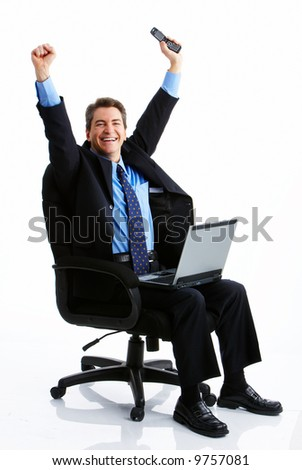Successful business man  working with laptop. Over white background