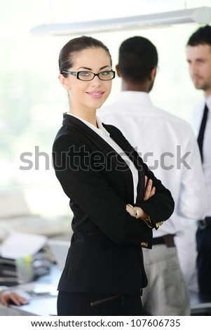 Successful business people at office - stock photo