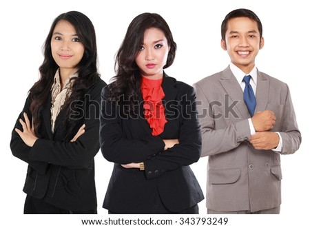 Successful business people looking happy, isolated on white background