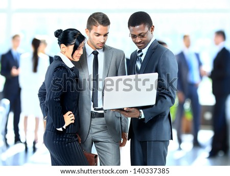Successful business people working together - stock photo