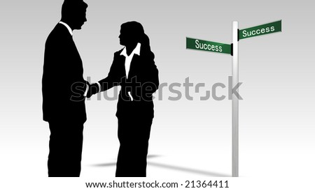 Successful Business Team engaged in teamwork together - stock photo