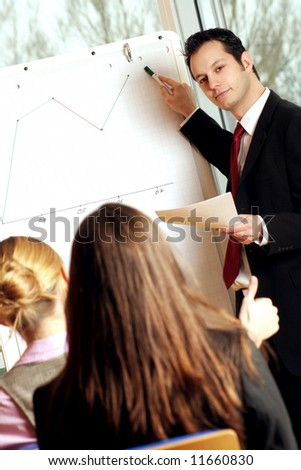 successful business team is working on a chart - stock photo