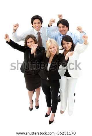 Successful business team with arms up - isolated over a white background - stock photo
