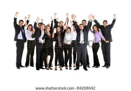 Successful business team with arms up- isolated over a white background - stock photo