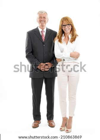 Successful business woman and businessman standing against white background. - stock photo