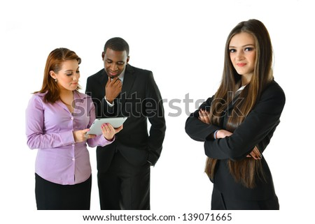 Successful Business Woman and Her Team - stock photo