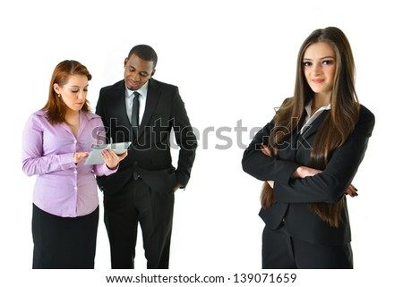 Successful Business Woman and Her Team with Different Background Poses - stock photo