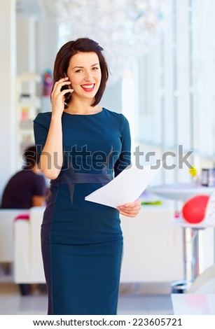 successful business woman at work - stock photo