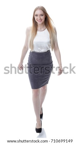 successful business woman goes ahead .. full-length photo