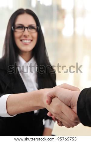 Successful business woman handshaking - stock photo