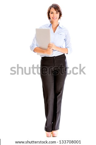 Successful business woman holding a laptop - isolated over white - stock photo