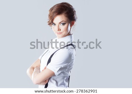 Successful business woman, in shirt on white background - stock photo