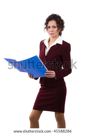 Successful business woman is holding folders. Young business girl with documents. Isolated over white background.