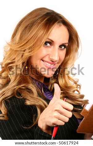 successful business woman isolated over a white background - stock photo