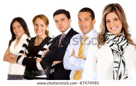 Successful business woman leading a group - isolated over white