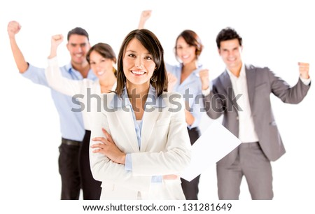 Successful business woman leading a team - isolated over white - stock photo