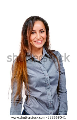 Successful business woman looking confident and smiling. Isolated on white background. - stock photo