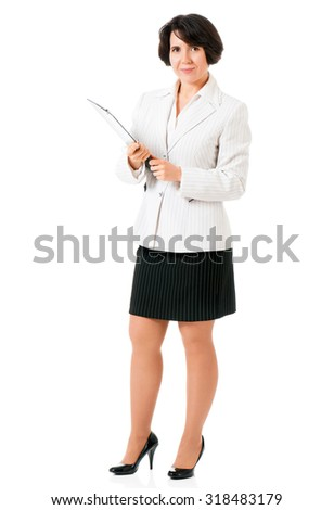 Successful business woman or teacher in suit with folders, isolated white background - stock photo