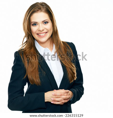 Successful business woman portrait . emotional portrait isolated on white background. - stock photo