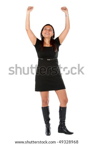 Successful business woman portrait smiling with her arms up over a white background