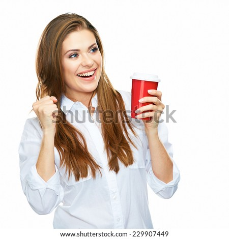 successful business woman portrait with red coffee cup. white background isolated studio portrait. - stock photo