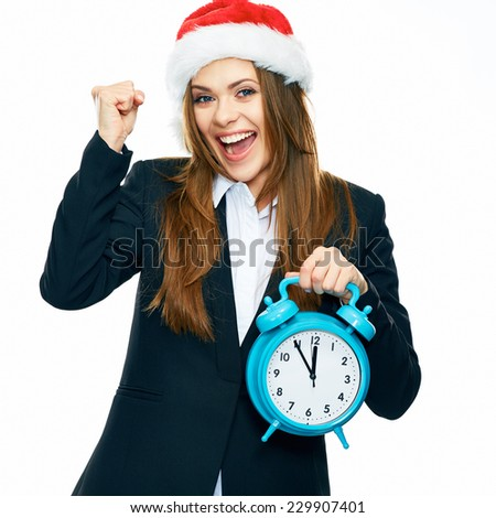 Successful Business woman portrait with Santa hat. New Year time. White background isolated. - stock photo