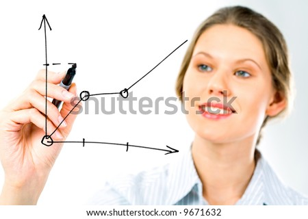 Successful business woman showing growth of profit on sales on a whiteboard - stock photo