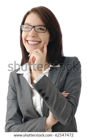 Successful business woman smiling - stock photo