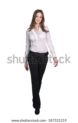 Successful business woman walking - isolated over white - stock photo