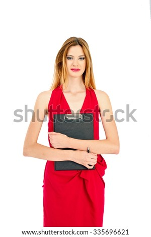 Successful business woman wear red dress and standing up - stock photo