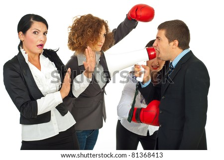 Successful business woman wearing boxing gloves isolated on white background - stock photo