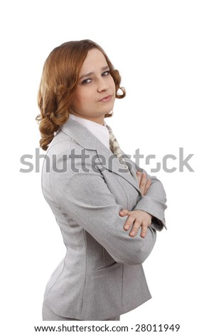 Successful business woman with a serious look on one's face. Beautiful girl wear glasses with pen. Business lady. Isolated over white background. - stock photo