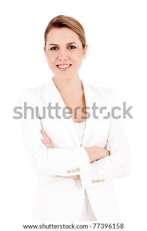 Successful business woman with arms crossed isolated over white - stock photo