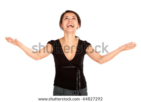 Successful business woman with arms open - isolated - stock photo