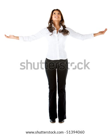 Successful business woman with arms opened isolated over a white background - stock photo