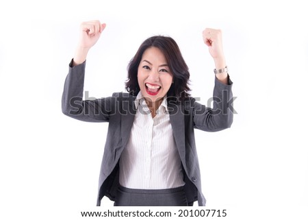Successful business woman with arms up on white background - stock photo