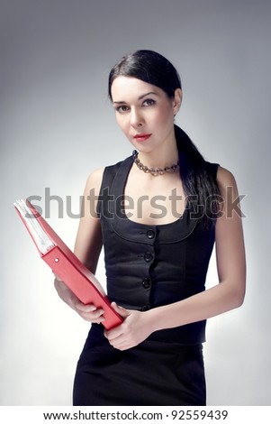 successful business woman with background - stock photo